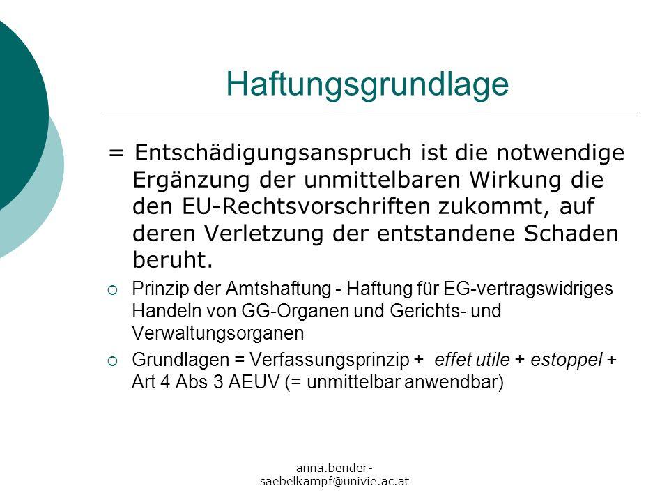 anna.bender- saebelkampf@univie.ac.at Haftungsgrundlage = Entschädigungsanspruch ist die notwendige Ergänzung der unmittelbaren Wirkung die den EU-Rec