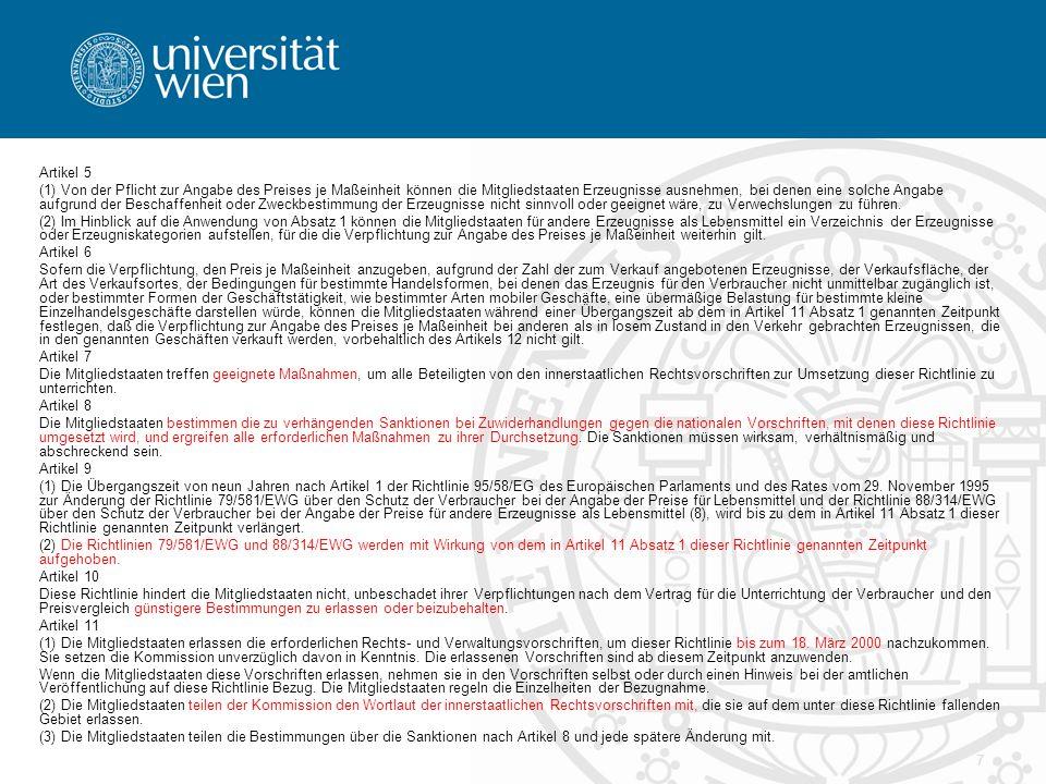 18 Unmittelbare Anwendbarkeit von RL Voraussetzungen RLbestimmung muss hinreichend bestimmt und unbedingt gefasst sein Umsetzungsfrist ist abgelaufen RLbestimmung räumt Rechtsschutzsuchendem Rechte ein