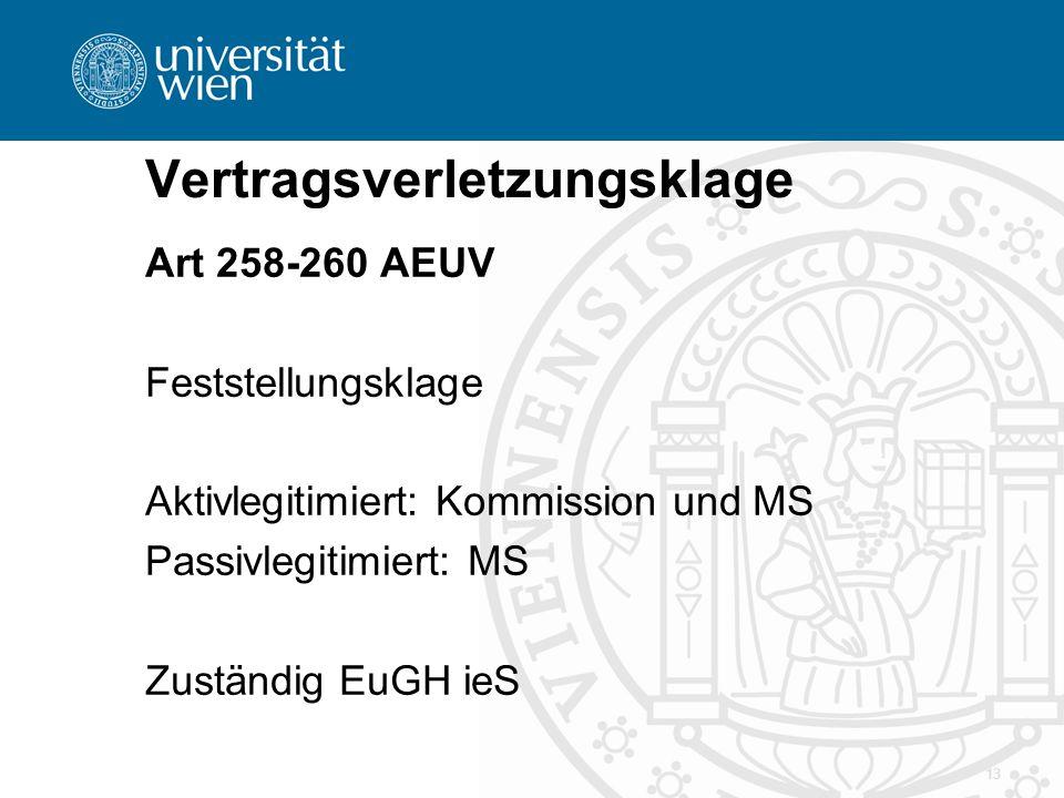 Vertragsverletzungsklage Art 258-260 AEUV Feststellungsklage Aktivlegitimiert: Kommission und MS Passivlegitimiert: MS Zuständig EuGH ieS 13