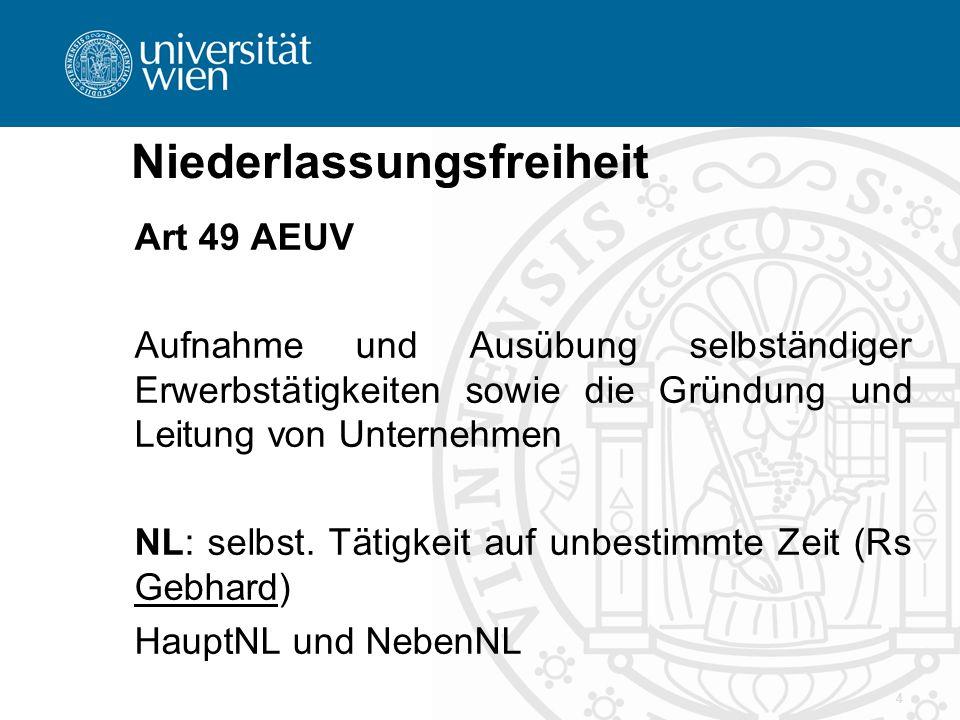 Niederlassungsfreiheit Art 49 AEUV Aufnahme und Ausübung selbständiger Erwerbstätigkeiten sowie die Gründung und Leitung von Unternehmen NL: selbst.
