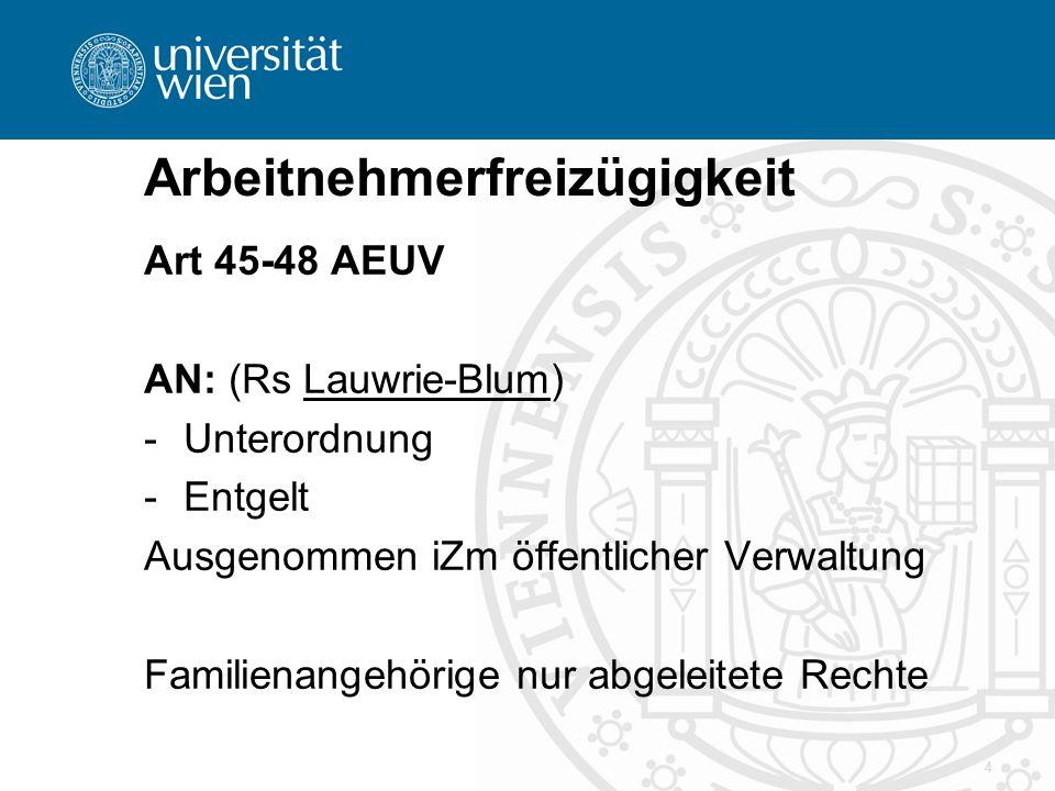 Arbeitnehmerfreizügigkeit Art 45-48 AEUV AN: (Rs Lauwrie-Blum) -Unterordnung -Entgelt Ausgenommen iZm öffentlicher Verwaltung Familienangehörige nur abgeleitete Rechte 4