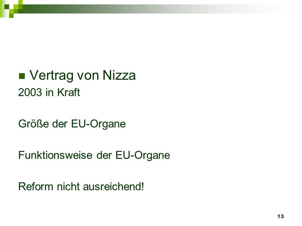 13 Vertrag von Nizza 2003 in Kraft Größe der EU-Organe Funktionsweise der EU-Organe Reform nicht ausreichend!