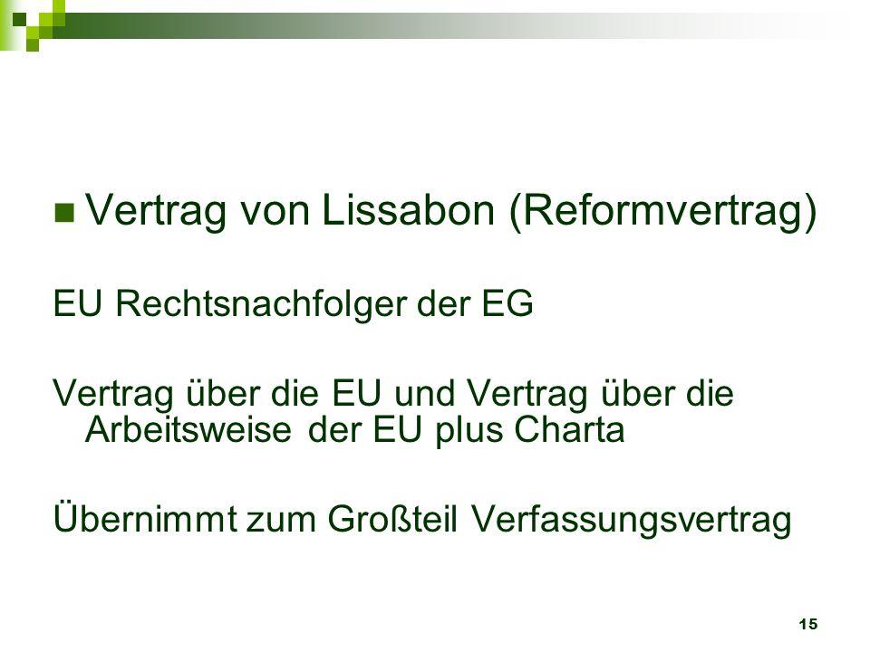 15 Vertrag von Lissabon (Reformvertrag) EU Rechtsnachfolger der EG Vertrag über die EU und Vertrag über die Arbeitsweise der EU plus Charta Übernimmt