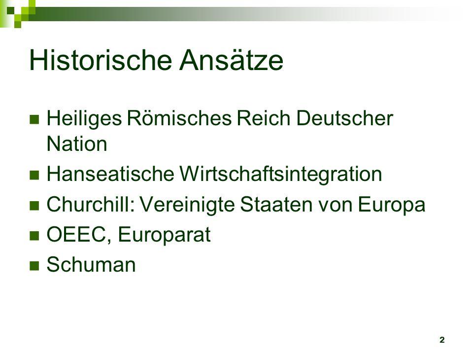 2 Historische Ansätze Heiliges Römisches Reich Deutscher Nation Hanseatische Wirtschaftsintegration Churchill: Vereinigte Staaten von Europa OEEC, Eur