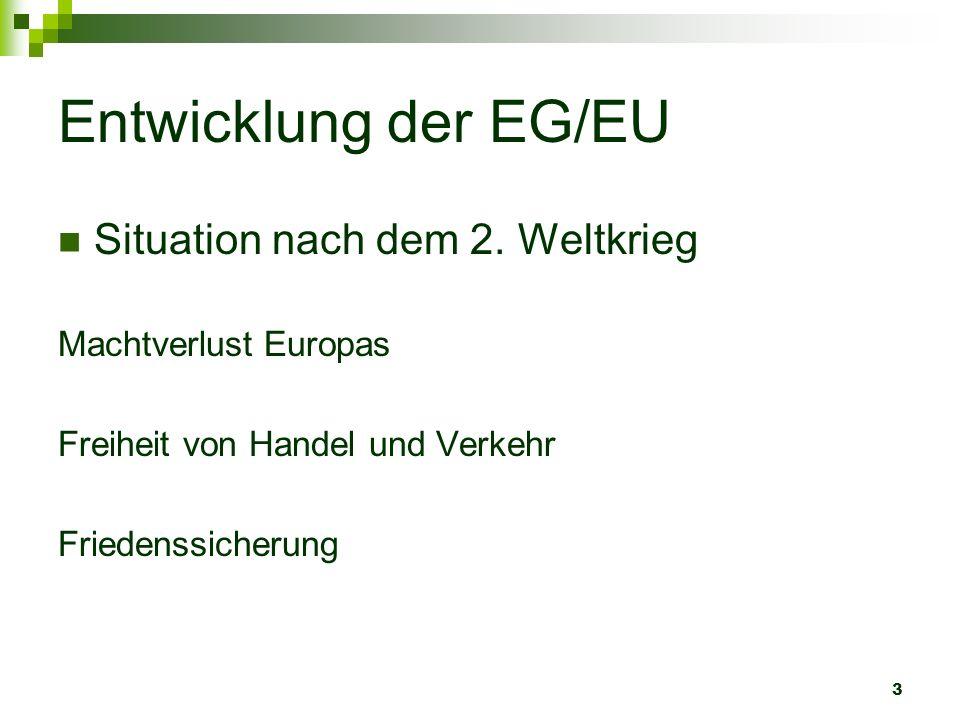 3 Entwicklung der EG/EU Situation nach dem 2. Weltkrieg Machtverlust Europas Freiheit von Handel und Verkehr Friedenssicherung