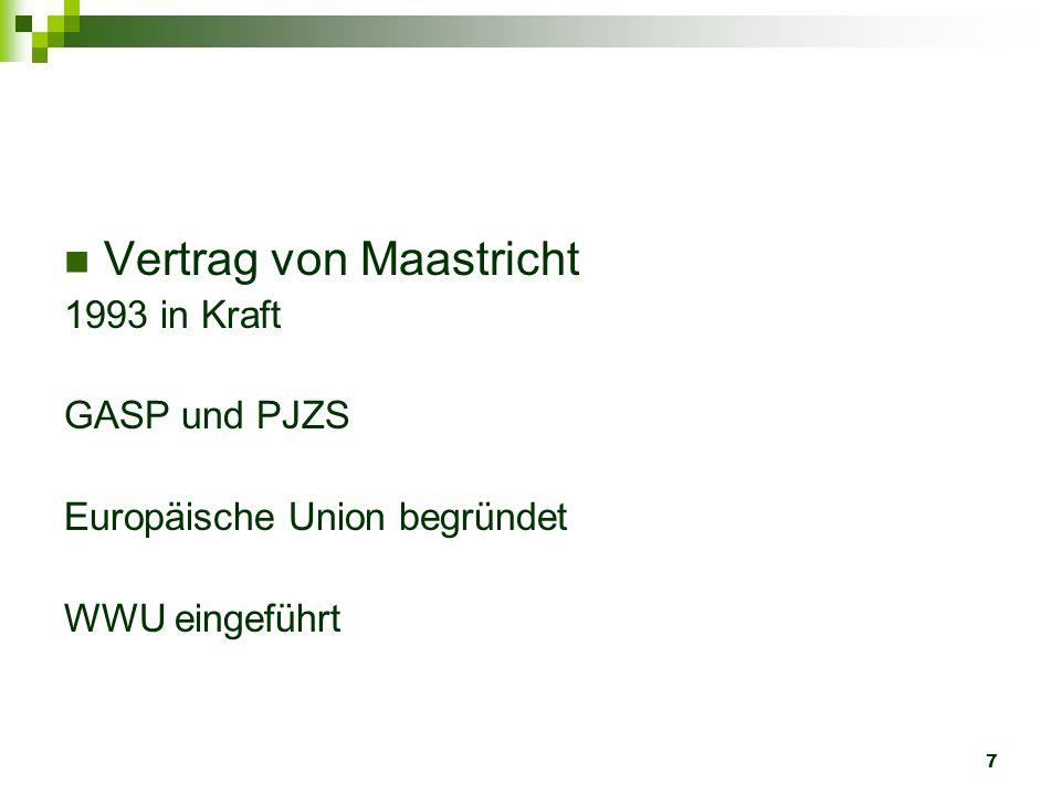 7 Vertrag von Maastricht 1993 in Kraft GASP und PJZS Europäische Union begründet WWU eingeführt