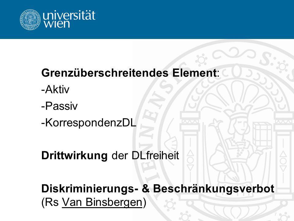 Grenzüberschreitendes Element: -Aktiv -Passiv -KorrespondenzDL Drittwirkung der DLfreiheit Diskriminierungs- & Beschränkungsverbot (Rs Van Binsbergen) 7