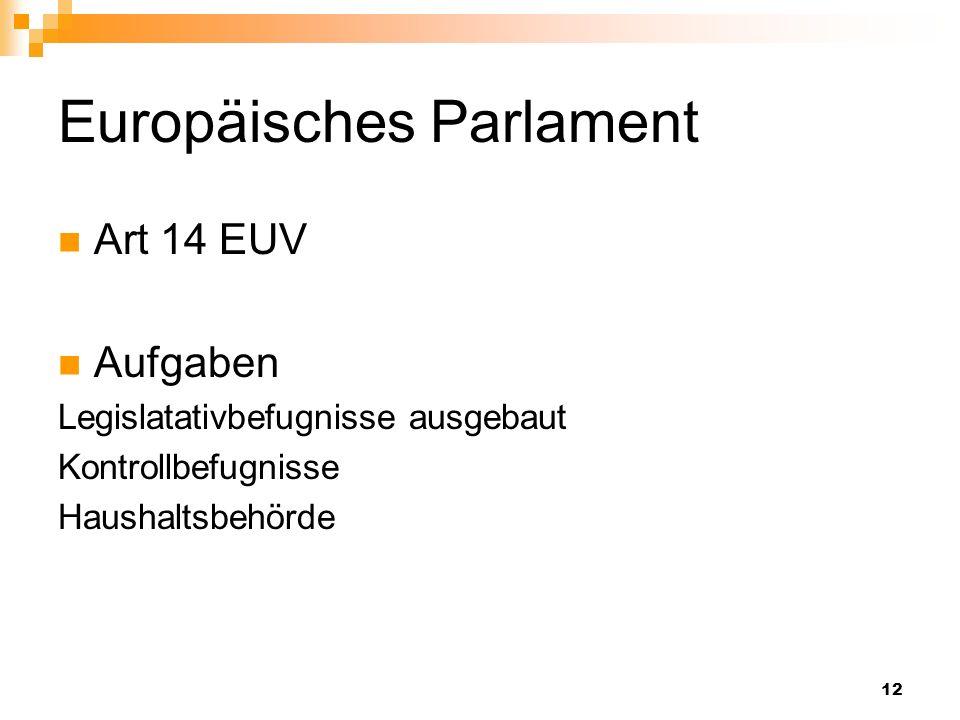 12 Europäisches Parlament Art 14 EUV Aufgaben Legislatativbefugnisse ausgebaut Kontrollbefugnisse Haushaltsbehörde