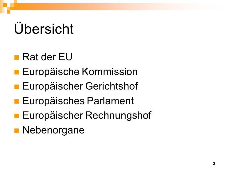 3 Übersicht Rat der EU Europäische Kommission Europäischer Gerichtshof Europäisches Parlament Europäischer Rechnungshof Nebenorgane