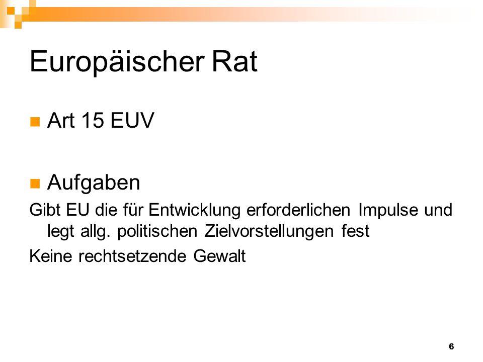 6 Europäischer Rat Art 15 EUV Aufgaben Gibt EU die für Entwicklung erforderlichen Impulse und legt allg. politischen Zielvorstellungen fest Keine rech