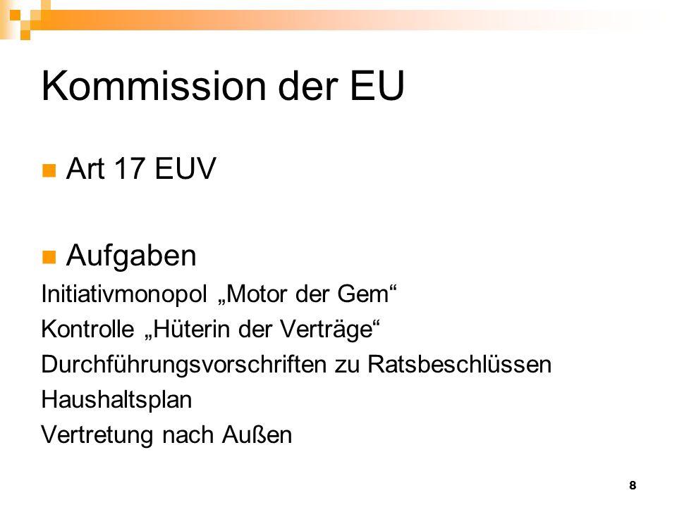 8 Kommission der EU Art 17 EUV Aufgaben Initiativmonopol Motor der Gem Kontrolle Hüterin der Verträge Durchführungsvorschriften zu Ratsbeschlüssen Hau