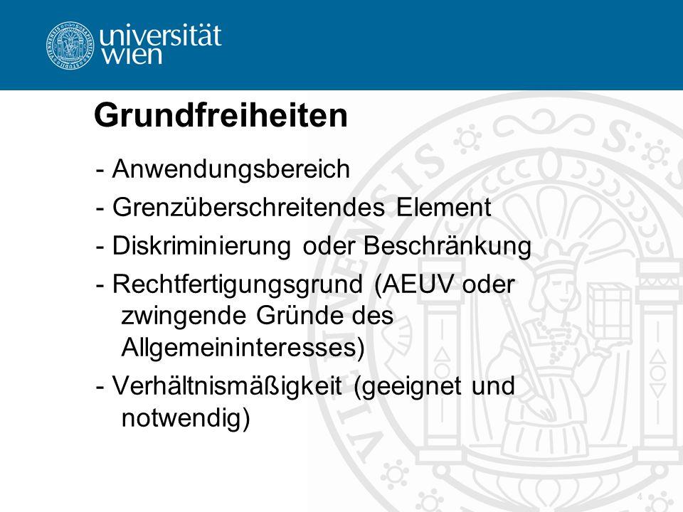 Grundfreiheiten - Anwendungsbereich - Grenzüberschreitendes Element - Diskriminierung oder Beschränkung - Rechtfertigungsgrund (AEUV oder zwingende Gr