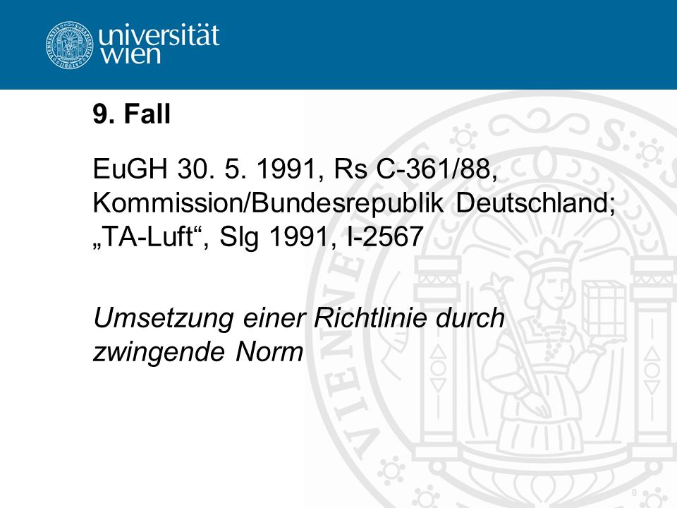 8 9. Fall EuGH 30. 5.