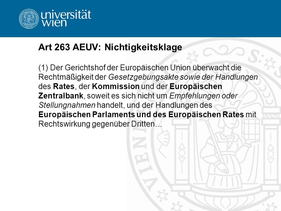 4 Art 263 AEUV: Nichtigkeitsklage (1) Der Gerichtshof der Europäischen Union überwacht die Rechtmäßigkeit der Gesetzgebungsakte sowie der Handlungen des Rates, der Kommission und der Europäischen Zentralbank, soweit es sich nicht um Empfehlungen oder Stellungnahmen handelt, und der Handlungen des Europäischen Parlaments und des Europäischen Rates mit Rechtswirkung gegenüber Dritten…