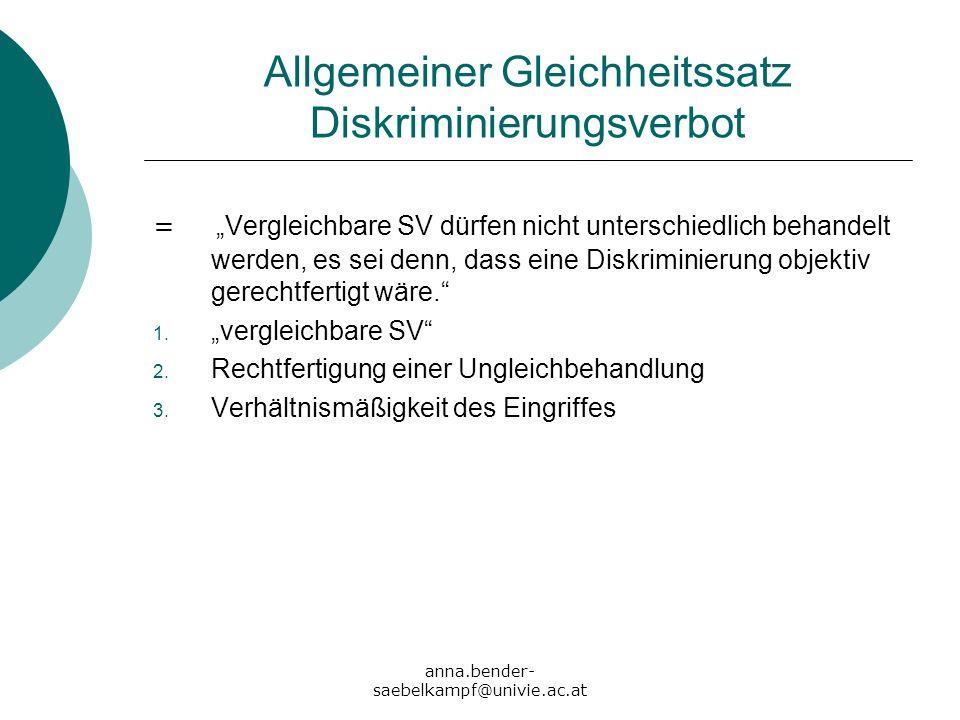 anna.bender- saebelkampf@univie.ac.at Allgemeiner Gleichheitssatz Diskriminierungsverbot = Vergleichbare SV dürfen nicht unterschiedlich behandelt wer