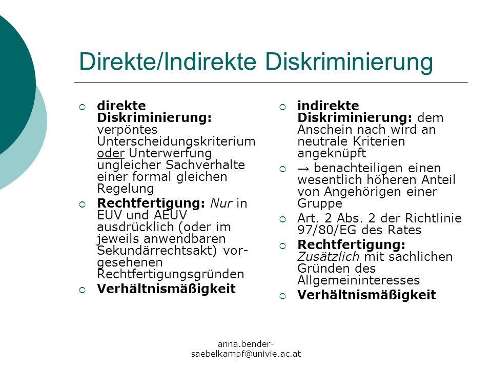 anna.bender- saebelkampf@univie.ac.at Direkte/Indirekte Diskriminierung direkte Diskriminierung: verpöntes Unterscheidungskriterium oder Unterwerfung