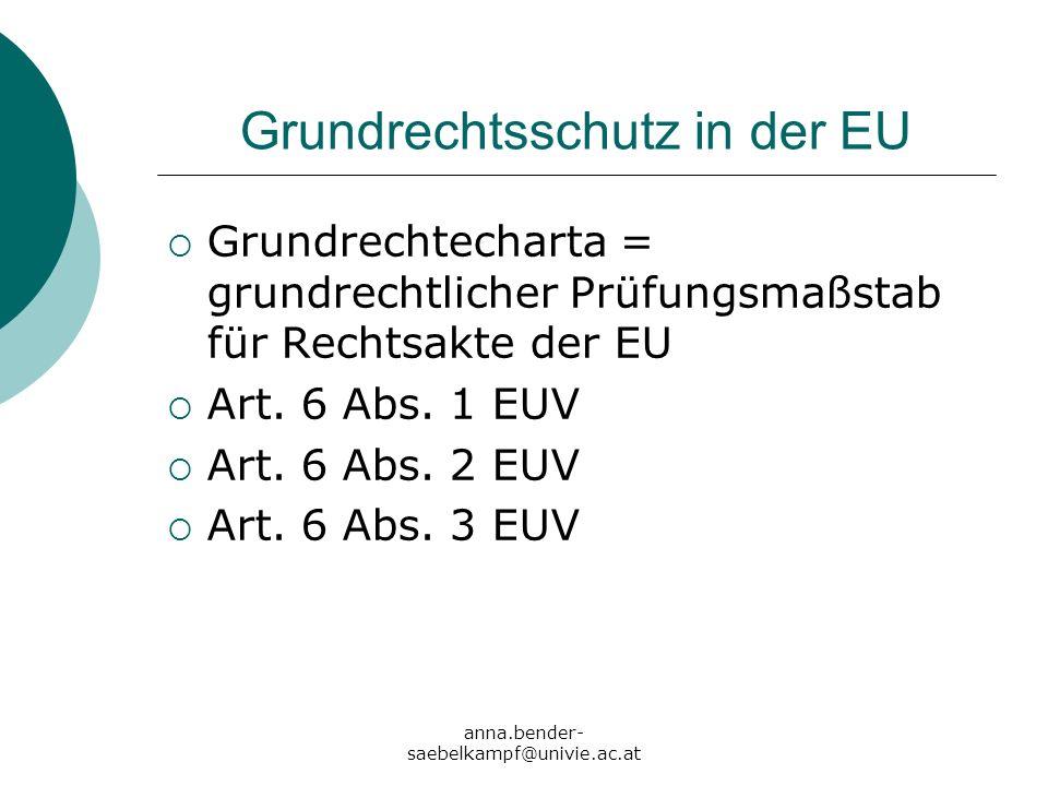 anna.bender- saebelkampf@univie.ac.at Grundrechtsschutz in der EU Grundrechtecharta = grundrechtlicher Prüfungsmaßstab für Rechtsakte der EU Art. 6 Ab
