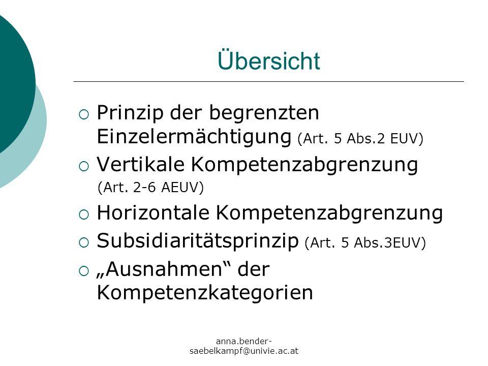 anna.bender- saebelkampf@univie.ac.at Übersicht Prinzip der begrenzten Einzelermächtigung (Art. 5 Abs.2 EUV) Vertikale Kompetenzabgrenzung (Art. 2-6 A