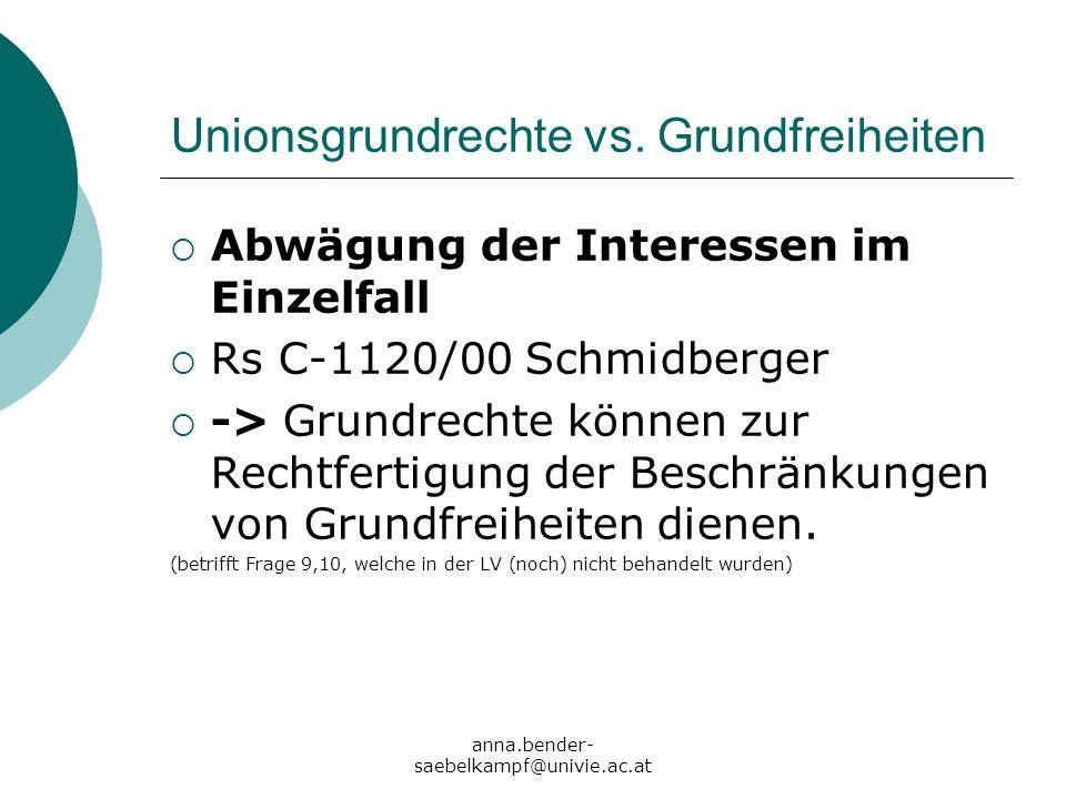 anna.bender- saebelkampf@univie.ac.at Unionsgrundrechte vs. Grundfreiheiten Abwägung der Interessen im Einzelfall Rs C-1120/00 Schmidberger -> Grundre
