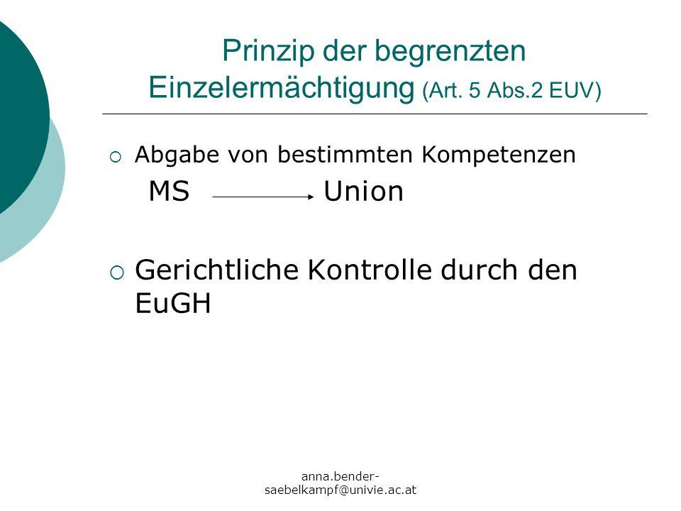 anna.bender- saebelkampf@univie.ac.at Prinzip der begrenzten Einzelermächtigung (Art. 5 Abs.2 EUV) Abgabe von bestimmten Kompetenzen MS Union Gerichtl