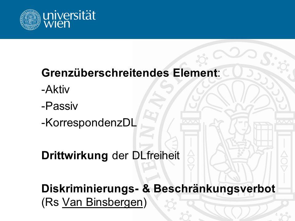 Grenzüberschreitendes Element: -Aktiv -Passiv -KorrespondenzDL Drittwirkung der DLfreiheit Diskriminierungs- & Beschränkungsverbot (Rs Van Binsbergen) 4