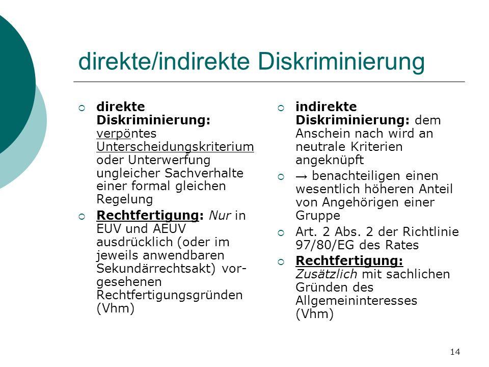 14 direkte/indirekte Diskriminierung direkte Diskriminierung: verpöntes Unterscheidungskriterium oder Unterwerfung ungleicher Sachverhalte einer forma