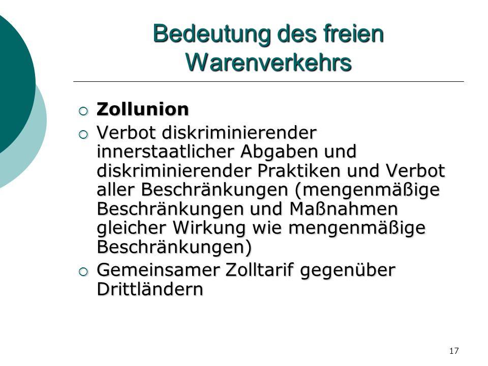 17 Bedeutung des freien Warenverkehrs Zollunion Zollunion Verbot diskriminierender innerstaatlicher Abgaben und diskriminierender Praktiken und Verbot