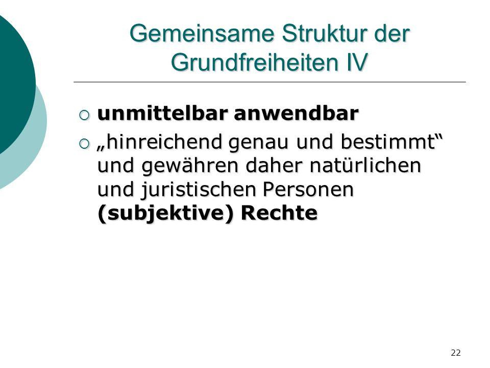22 Gemeinsame Struktur der Grundfreiheiten IV unmittelbar anwendbar unmittelbar anwendbar hinreichend genau und bestimmt und gewähren daher natürliche
