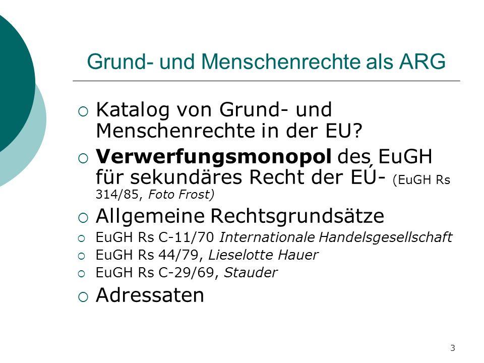 3 Grund- und Menschenrechte als ARG Katalog von Grund- und Menschenrechte in der EU? Verwerfungsmonopol des EuGH für sekundäres Recht der EÚ- (EuGH Rs