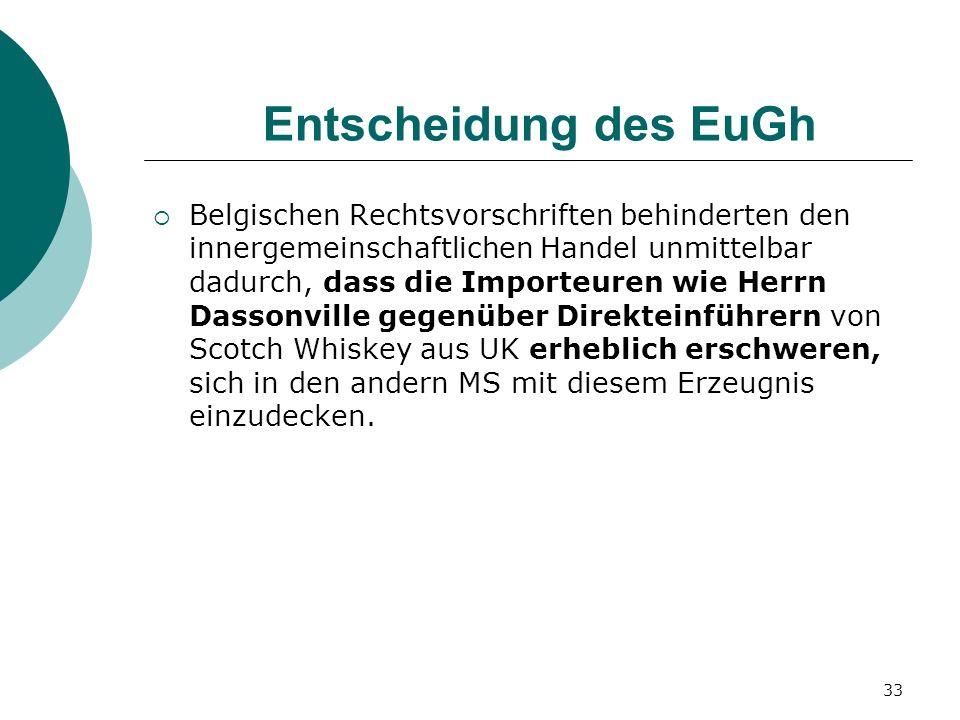 33 Entscheidung des EuGh Belgischen Rechtsvorschriften behinderten den innergemeinschaftlichen Handel unmittelbar dadurch, dass die Importeuren wie He