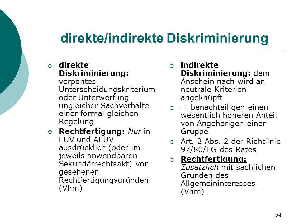 54 direkte/indirekte Diskriminierung direkte Diskriminierung: verpöntes Unterscheidungskriterium oder Unterwerfung ungleicher Sachverhalte einer forma