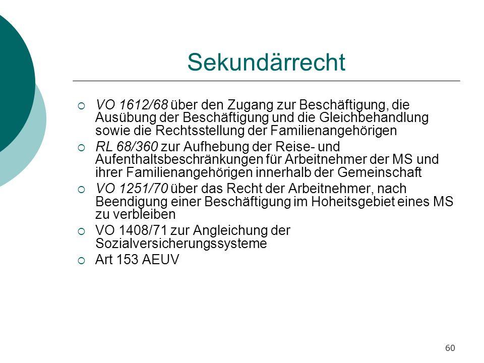 60 Sekundärrecht VO 1612/68 über den Zugang zur Beschäftigung, die Ausübung der Beschäftigung und die Gleichbehandlung sowie die Rechtsstellung der Fa
