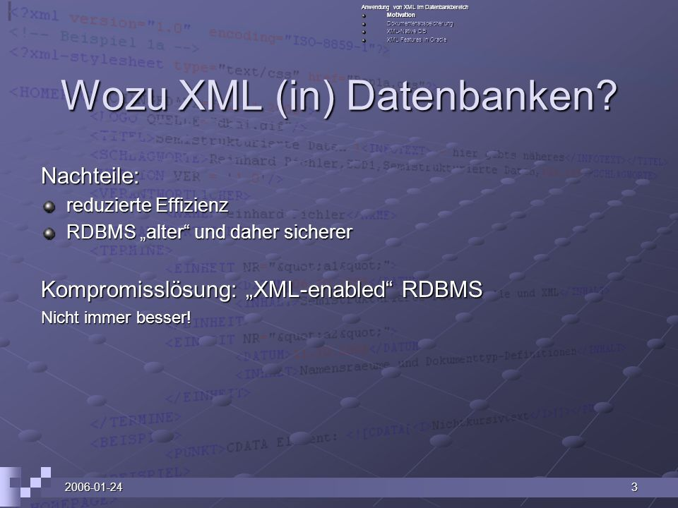 2006-01-243 Wozu XML (in) Datenbanken.