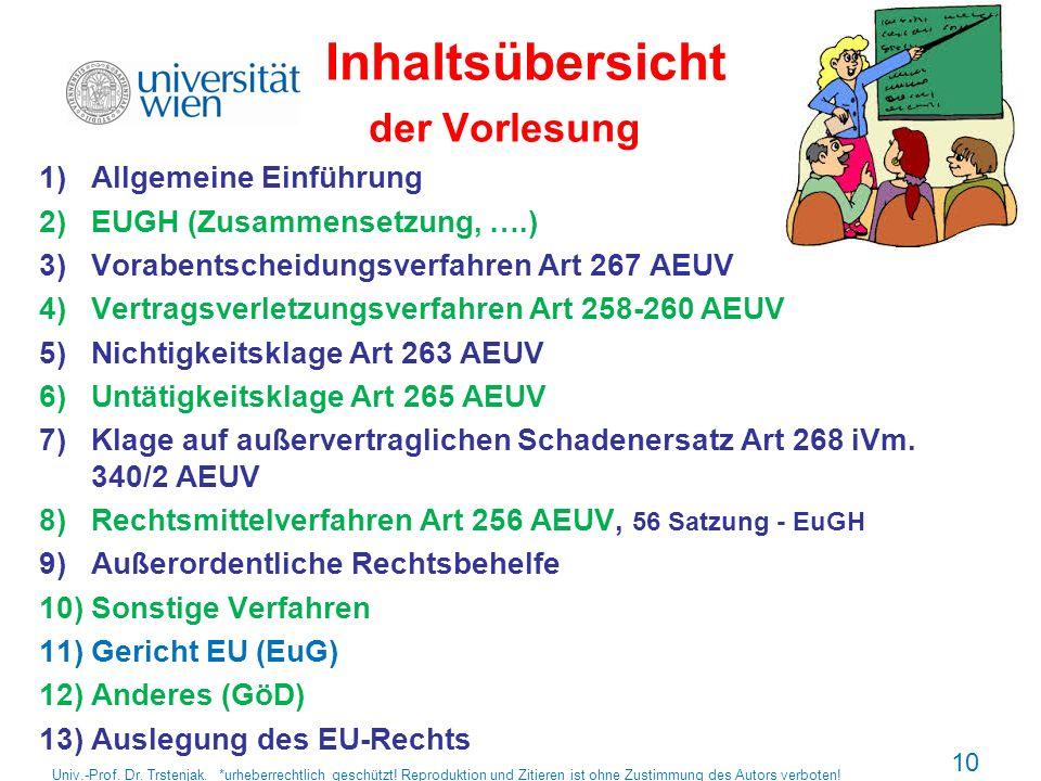 Inhaltsübersicht der Vorlesung 1)Allgemeine Einführung 2)EUGH (Zusammensetzung, ….) 3)Vorabentscheidungsverfahren Art 267 AEUV 4)Vertragsverletzungsve