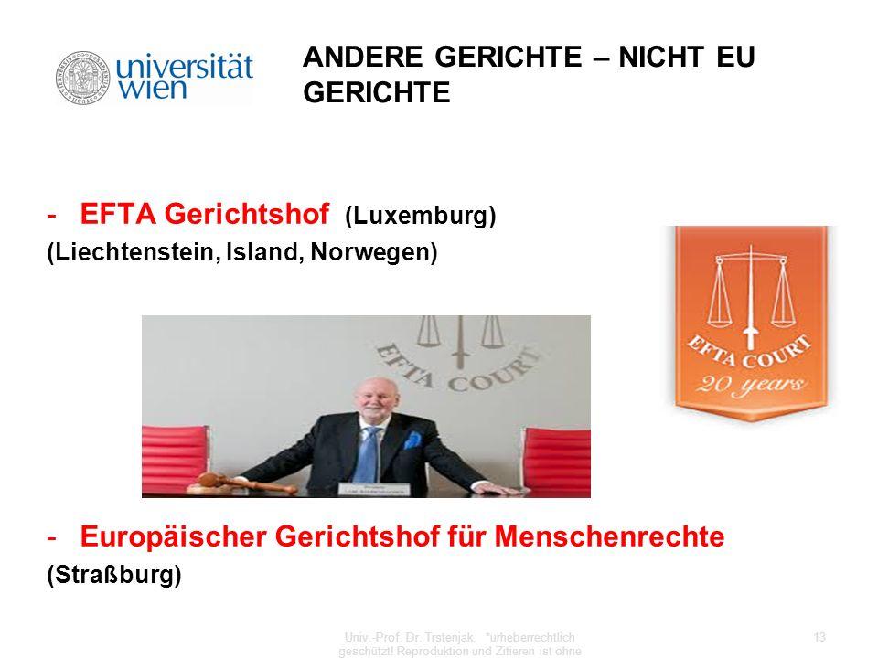 ANDERE GERICHTE – NICHT EU GERICHTE -EFTA Gerichtshof (Luxemburg) (Liechtenstein, Island, Norwegen) -Europäischer Gerichtshof für Menschenrechte (Stra