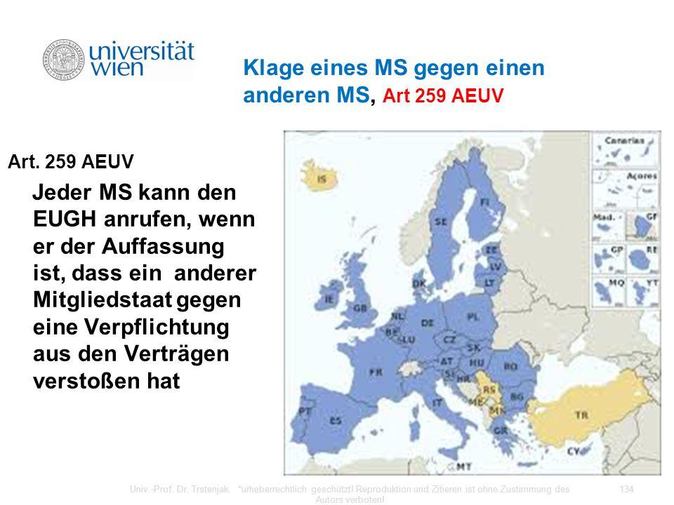 Klage eines MS gegen einen anderen MS, Art 259 AEUV Art. 259 AEUV Jeder MS kann den EUGH anrufen, wenn er der Auffassung ist, dass ein anderer Mitglie