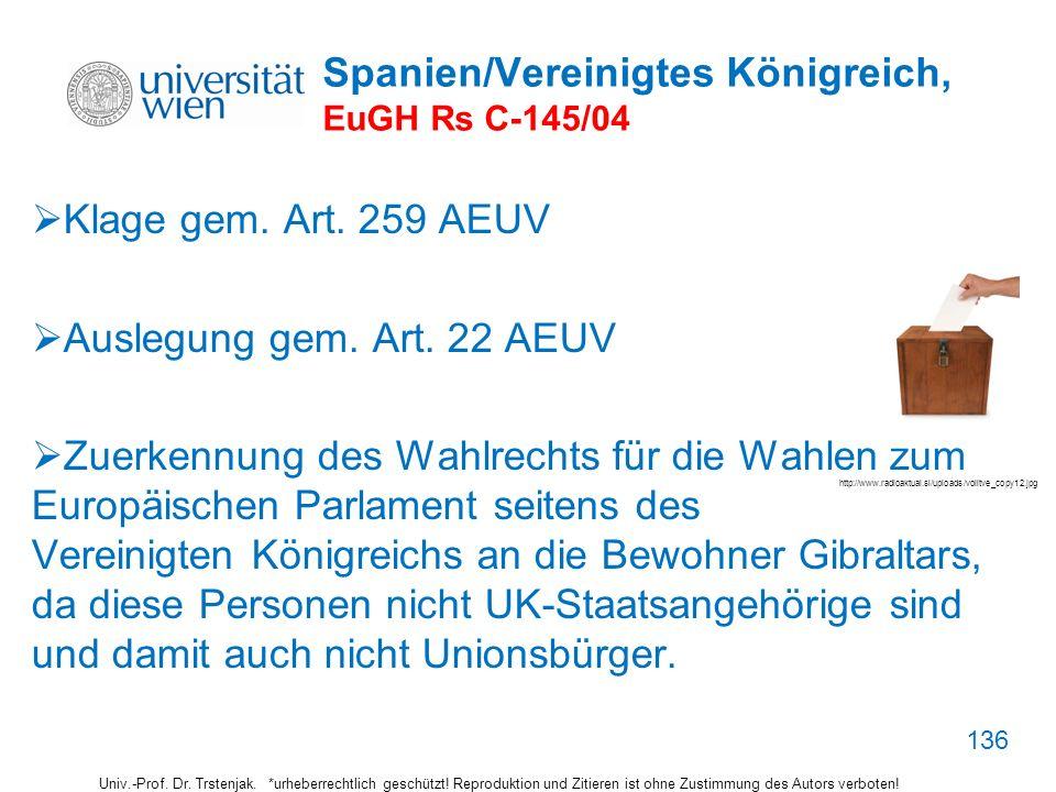 Spanien/Vereinigtes Königreich, EuGH Rs C-145/04 Klage gem. Art. 259 AEUV Auslegung gem. Art. 22 AEUV Zuerkennung des Wahlrechts für die Wahlen zum Eu