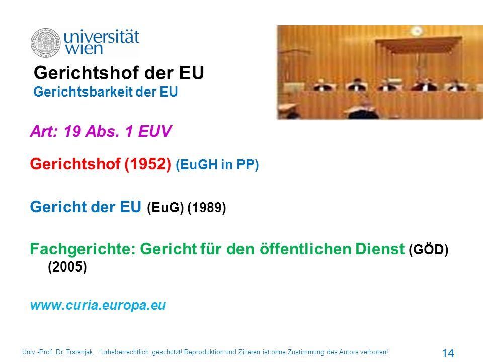 Gerichtshof der EU Gerichtsbarkeit der EU Art: 19 Abs. 1 EUV Gerichtshof (1952) (EuGH in PP) Gericht der EU (EuG) (1989) Fachgerichte: Gericht für den