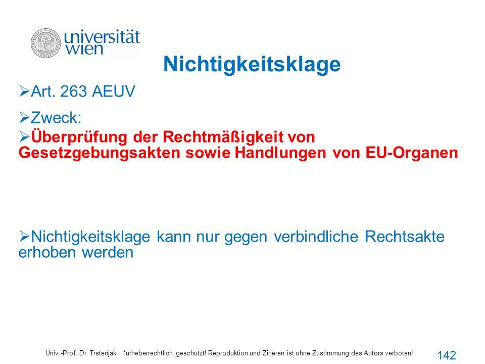 Nichtigkeitsklage Art. 263 AEUV Zweck: Überprüfung der Rechtmäßigkeit von Gesetzgebungsakten sowie Handlungen von EU-Organen Nichtigkeitsklage kann nu