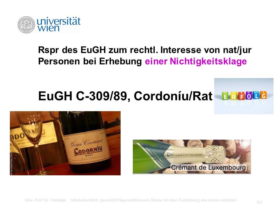 Rspr des EuGH zum rechtl. Interesse von nat/jur Personen bei Erhebung einer Nichtigkeitsklage EuGH C-309/89, Cordoníu/Rat Univ.-Prof. Dr. Trstenjak. *