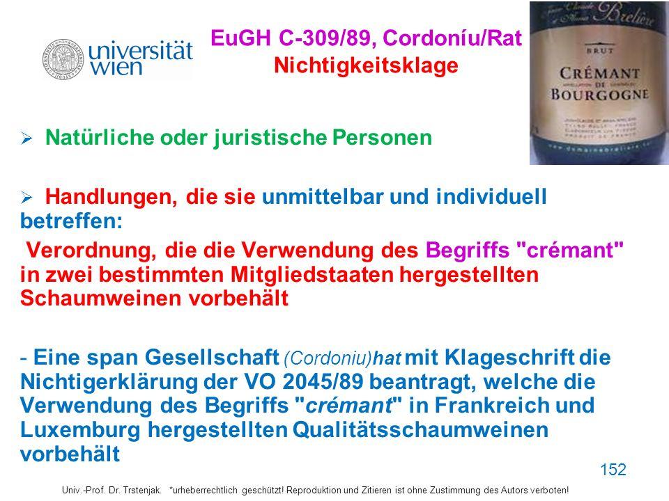 152 EuGH C-309/89, Cordoníu/Rat Nichtigkeitsklage Natürliche oder juristische Personen Handlungen, die sie unmittelbar und individuell betreffen: Vero