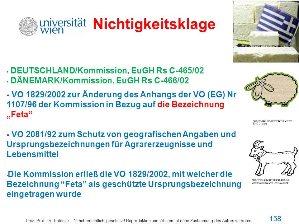 Nichtigkeitsklage DEUTSCHLAND/Kommission, EuGH Rs C-465/02 DÄNEMARK/Kommission, EuGH Rs C-466/02 - VO 1829/2002 zur Änderung des Anhangs der VO (EG) N