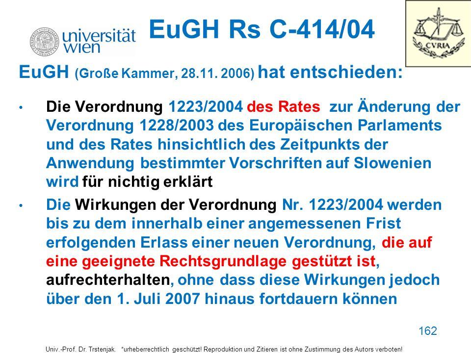 162 EuGH Rs C-414/04 EuGH (Große Kammer, 28.11. 2006) hat entschieden: Die Verordnung 1223/2004 des Rates zur Änderung der Verordnung 1228/2003 des Eu
