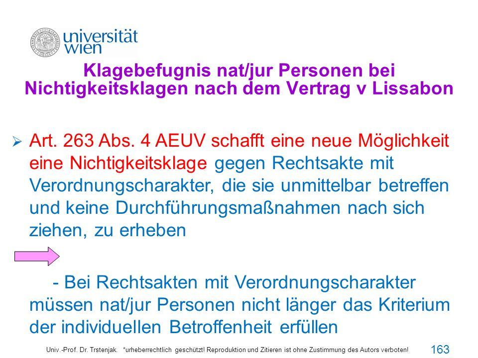 Klagebefugnis nat/jur Personen bei Nichtigkeitsklagen nach dem Vertrag v Lissabon Univ.-Prof. Dr. Trstenjak. *urheberrechtlich geschützt! Reproduktion