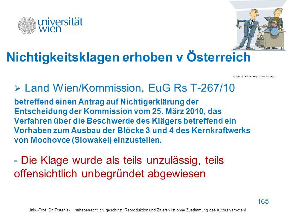 165 Nichtigkeitsklagen erhoben v Österreich Land Wien/Kommission, EuG Rs T-267/10 betreffend einen Antrag auf Nichtigerklärung der Entscheidung der Ko