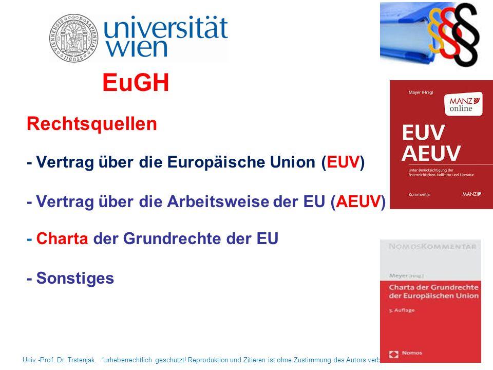 EuGH Rechtsquellen - Vertrag über die Europäische Union (EUV) - Vertrag über die Arbeitsweise der EU (AEUV) - Charta der Grundrechte der EU - Sonstige