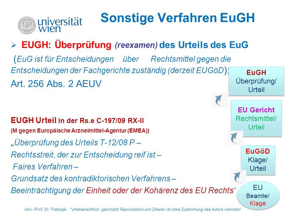 Sonstige Verfahren EuGH EUGH: Überprüfung (reexamen) des Urteils des EuG ( EuG ist für Entscheidungen über Rechtsmittel gegen die Entscheidungen der F