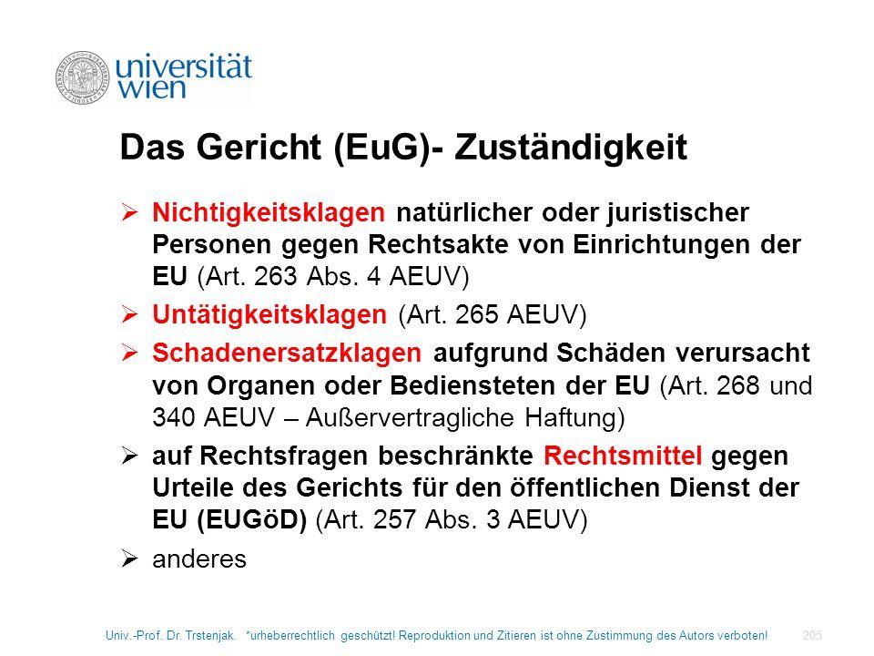 Das Gericht (EuG)- Zuständigkeit Nichtigkeitsklagen natürlicher oder juristischer Personen gegen Rechtsakte von Einrichtungen der EU (Art. 263 Abs. 4