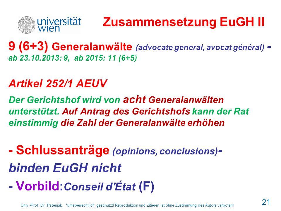 21 Zusammensetzung EuGH II 9 (6+3) Generalanwälte (advocate general, avocat général) - ab 23.10.2013: 9, ab 2015: 11 (6+5) Artikel 252/1 AEUV Der Geri