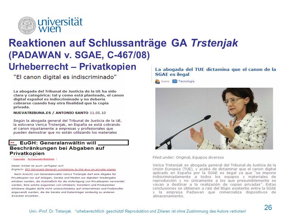 Univ.-Prof. Dr. Trstenjak. *urheberrechtlich geschützt! Reproduktion und Zitieren ist ohne Zustimmung des Autors verboten! 26 Reaktionen auf Schlussan
